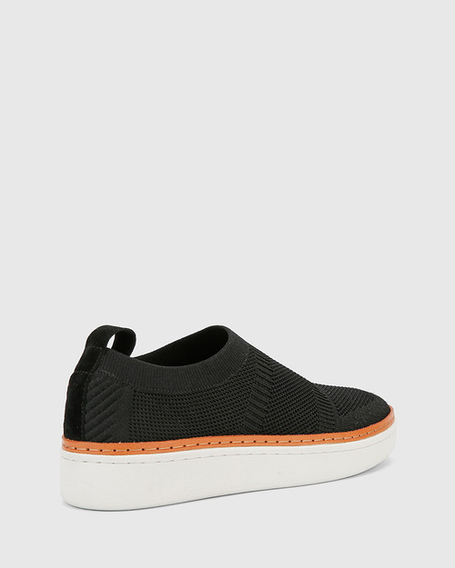 Griffin Black Stretch Knit & Nubuck Leather Pull On Sneaker