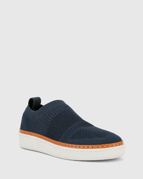 Griffin Navy Stretch Knit & Nubuck Leather Pull On Sneaker.