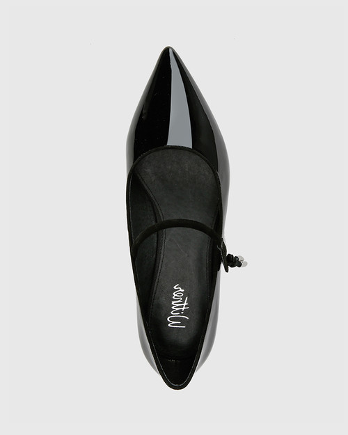 Meara Black Patent & Suede Leather Point Toe Flat. & Wittner & Wittner Shoes