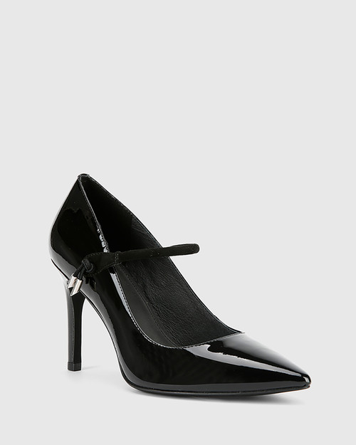 Hanner Black Patent & Suede Leather Stiletto Heel.