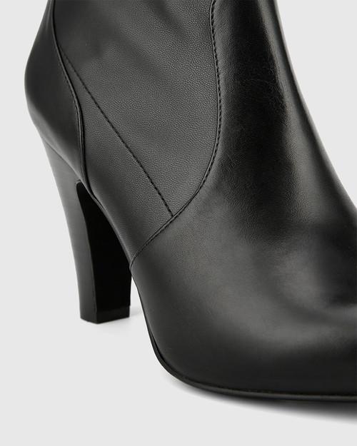 Holten Black Stretch Leather Block Heel Ankle Bootie. & Wittner & Wittner Shoes