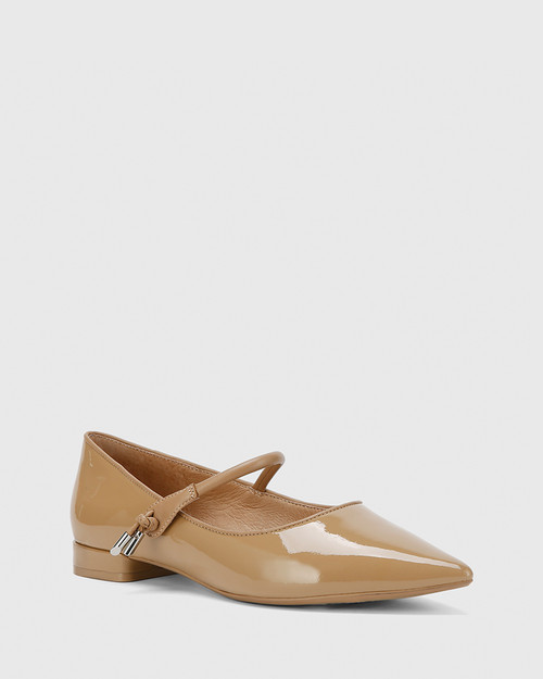 Meara Taupe Patent & Nappa Leather Point Toe Flat.