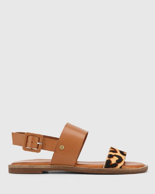 Chastity Choc Leopard Print Hair & Brandy Leather Sandal. & Wittner & Wittner Shoes
