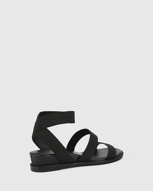 Carzani Black Elastic & Leather Ankle Strap Open Toe Wedge.