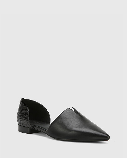 Midori Black Leather & Mini Snake Print Pointed Toe Flat.