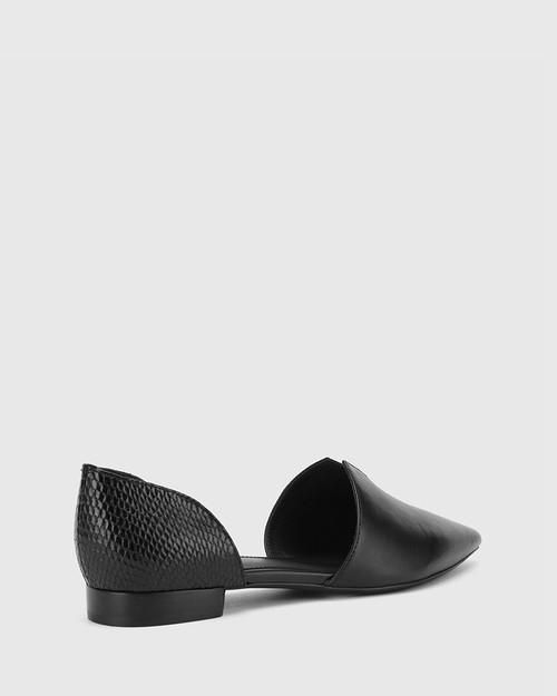 Midori Black Leather & Mini Snake Print Pointed Toe Flat. & Wittner & Wittner Shoes