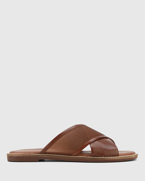Calla Cedar Leather & Mesh Crossed Strap Slide. & Wittner & Wittner Shoes