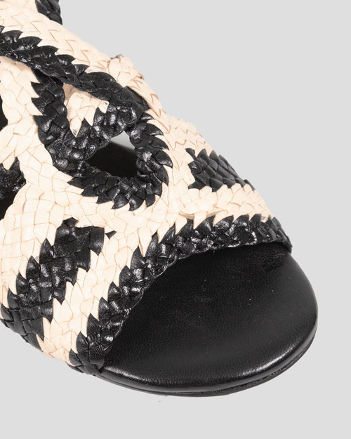 Patty Black & White Leather Braided Flat Sandal. & Wittner & Wittner Shoes