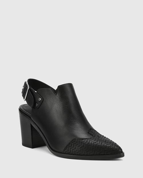 Pino Black & Cobra Print Leather Closed Toe Block Heel. & Wittner & Wittner Shoes