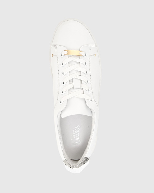 Gambino White & Snake Print Leather Hardware Detail Sneaker