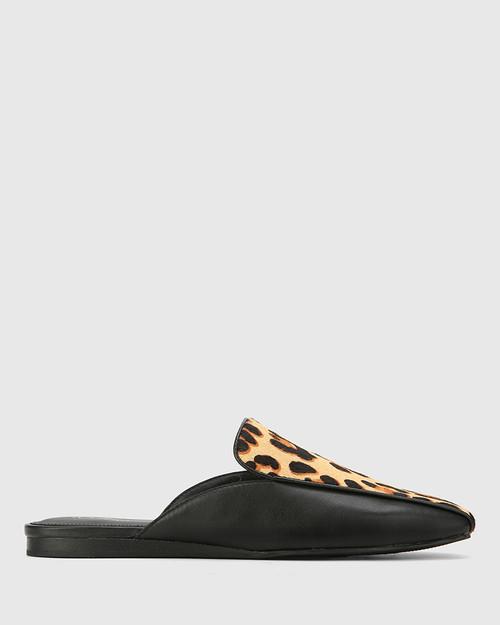Amiga Black Leather & Leopard Print Hair Flat Mule. & Wittner & Wittner Shoes