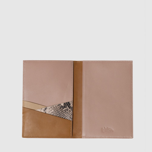Lorde Tan Petal Pink & Snake Print Leather Passport Holder