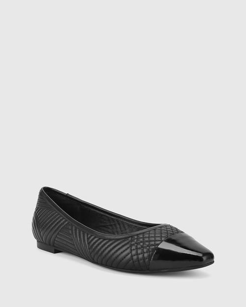 Egan Black Leather & Patent Slip On Flat