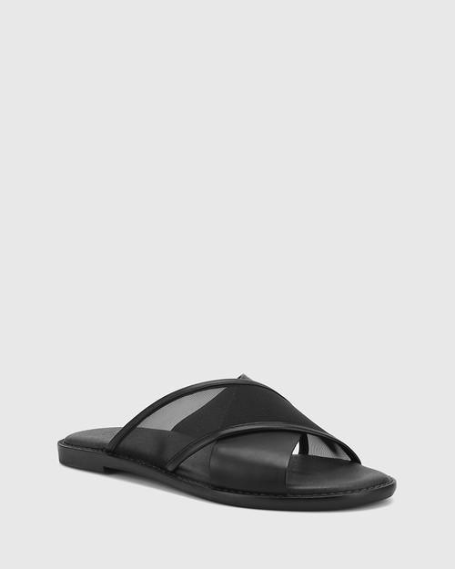 Calla Black Leather & Mesh Crossed Strap Slide.