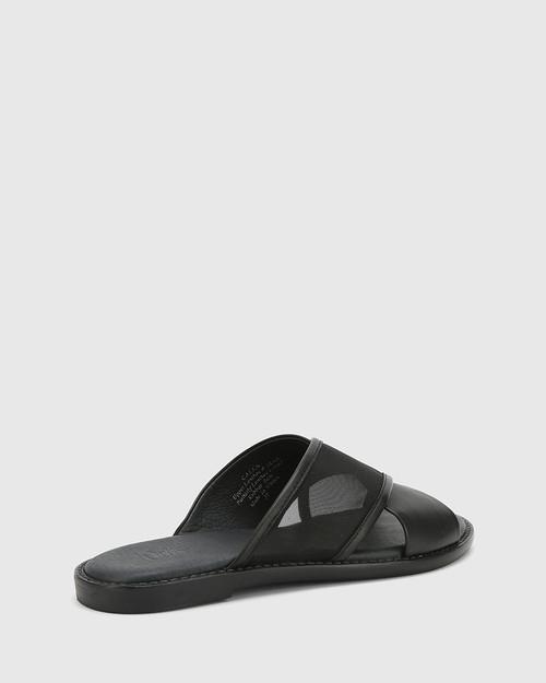 Calla Black Leather & Mesh Crossed Strap Slide. & Wittner & Wittner Shoes