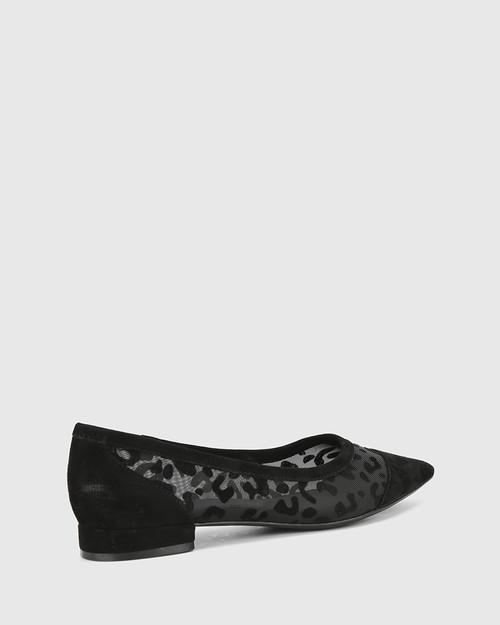 Medalina Black Leopard Print Suede & Mesh Flat. & Wittner & Wittner Shoes