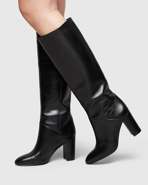 Sherman Black Leather Block Heel Knee High Boot.