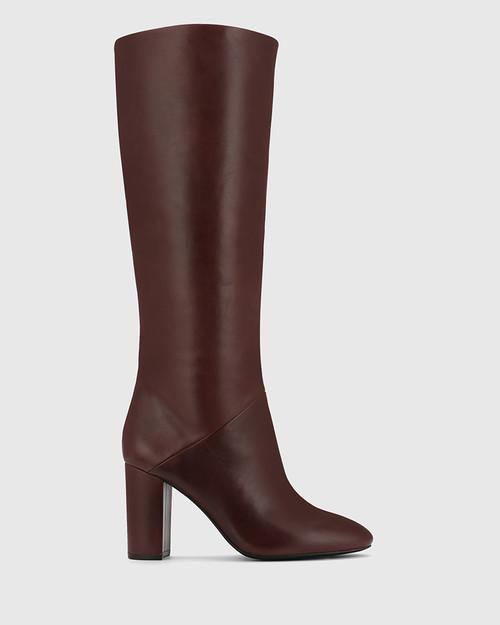 Sherman Burgundy Leather Block Heel Knee High Boot.