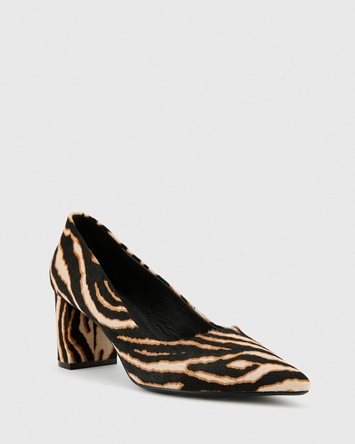 Dalena Chocolate Zebra Print Hair-On Leather Block Mid Heel.