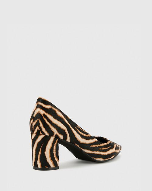 Dalena Chocolate Zebra Print Hair-On Leather Block Mid Heel.