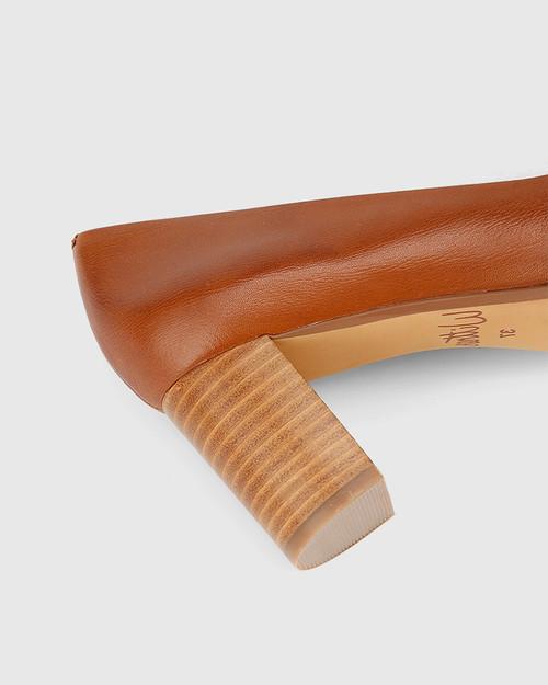 Dalena Dark Cognac Scotch Leather Pointed Toe Block Heel .