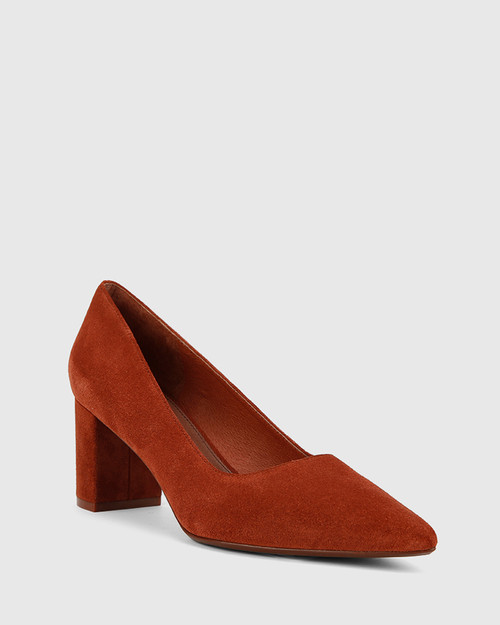 Dalena Rust Suede Leather Block Heel Pointed Toe.