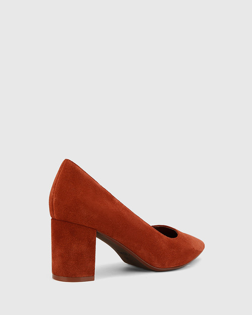 Dalena Rust Suede Leather Block Heel Pointed Toe