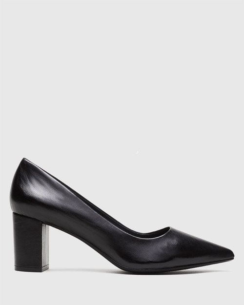 Dalena Black Leather Pointed Closed Toe Block Mid Heel. & Wittner & Wittner Shoes