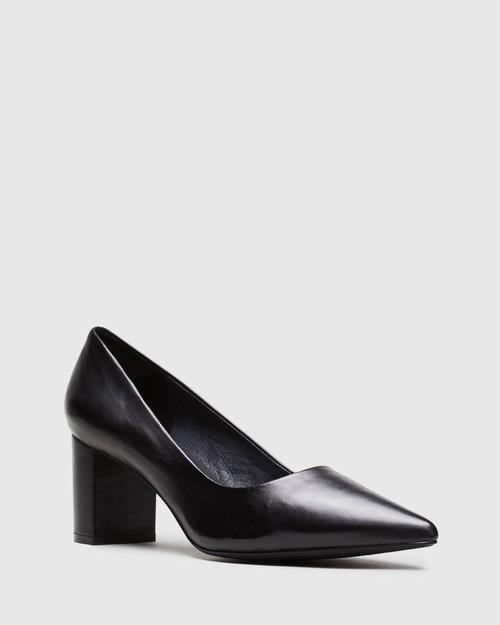 Dalena Black Leather Pointed Closed Toe Block Mid Heel.