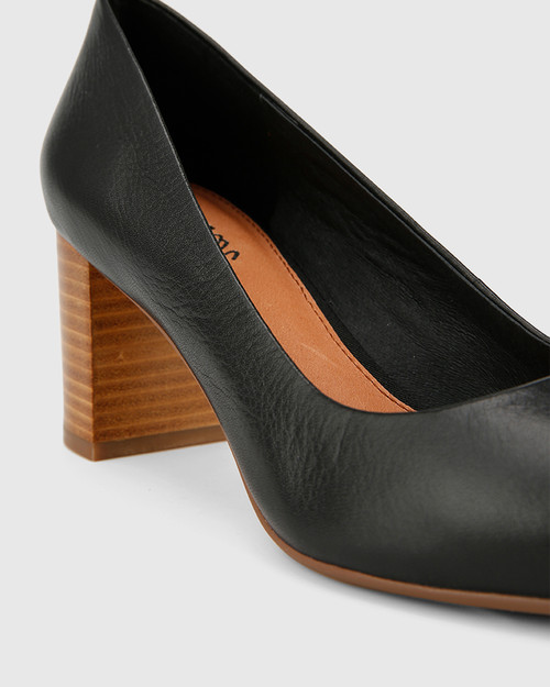 Dalena Black Scotch Leather Block Heel Point Toe. & Wittner & Wittner Shoes