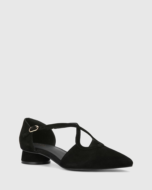 Addy Black Suede Pointed Toe Flat.