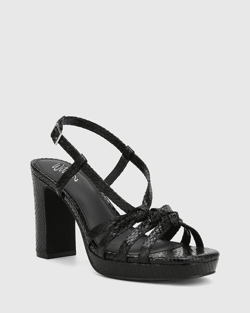 Parie Black Mini Snake Print Leather Block Heel Sandal.