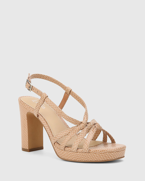 Parie Desert Beige Mini Snake Print Leather Block Heel Sandal.