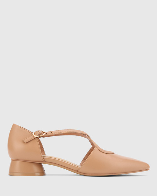 Addy Desert Beige Leather Pointed Toe Flat. & Wittner & Wittner Shoes