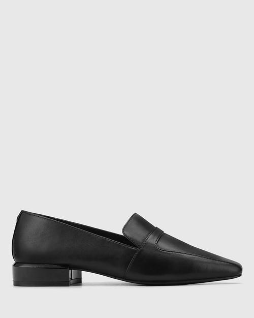 Abril Black Leather Square Toe Flat Loafer. & Wittner & Wittner Shoes