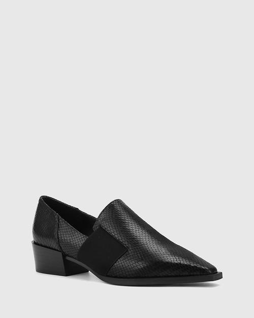 Christian Black Mini Snake Print Leather Elastic Sided Loafer. & Wittner & Wittner Shoes