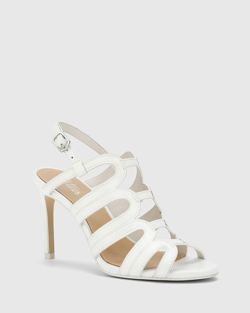 Rosko White Leather Caged Strappy Stiletto.