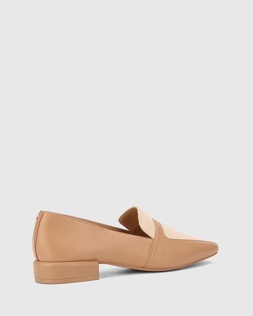 Abril Desert Beige & Pearl Leather Square Toe Flat Loafer. & Wittner & Wittner Shoes