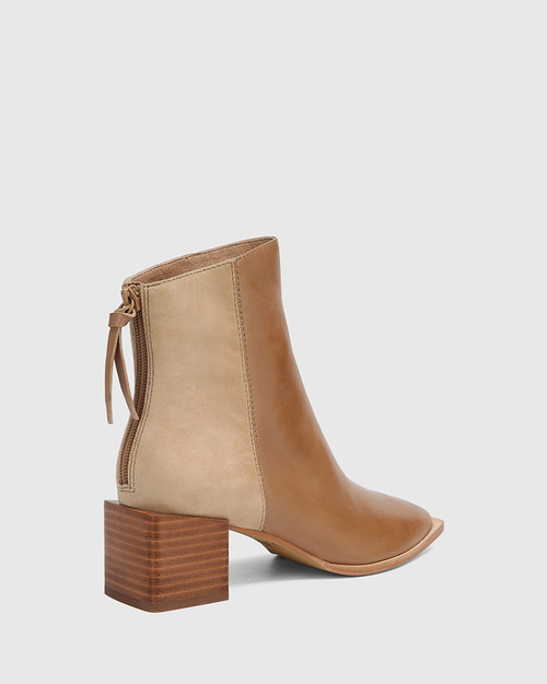 Aldwin Taupe Leather & Suede Square Heel Ankle Boot. & Wittner & Wittner Shoes