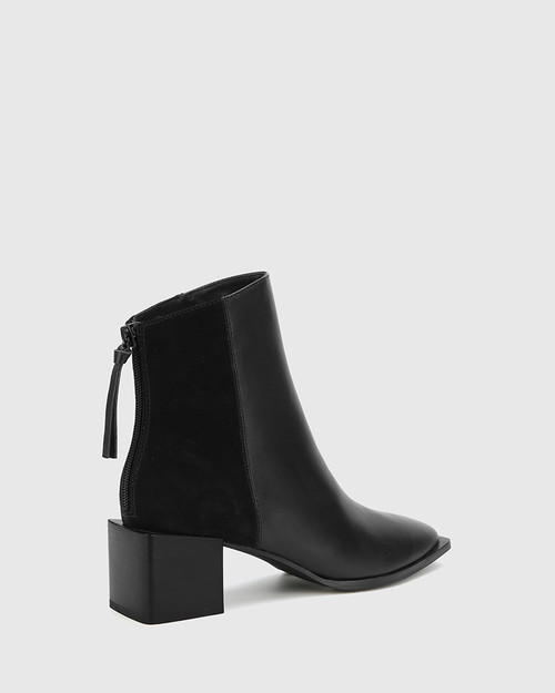 Aldwin Black Leather & Suede Square Heel Ankle Boot. & Wittner & Wittner Shoes