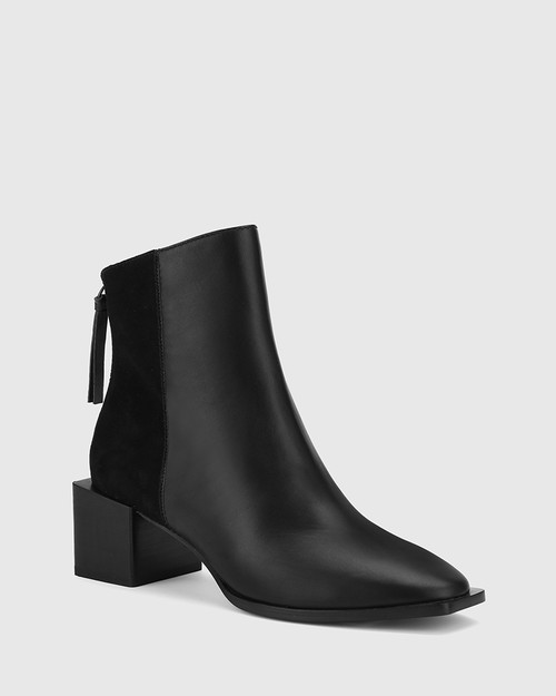 Aldwin Black Leather & Suede Square Heel Ankle Boot.