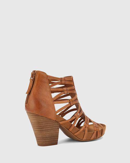 Carl Tan Leather Strappy Curve Block Heel. & Wittner & Wittner Shoes