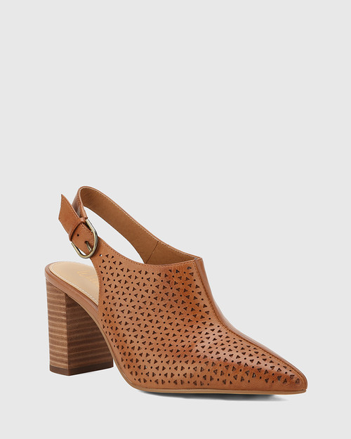 Siam Dark Cognac Leather Block Heel Slingback.