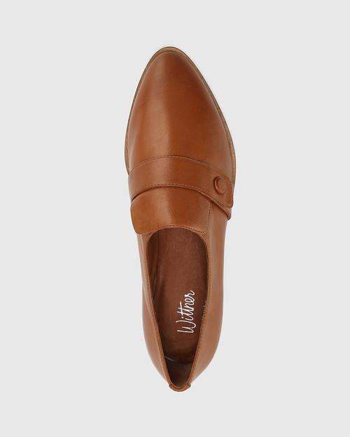 Elma Dark Cognac Leather Flat Loafer. & Wittner & Wittner Shoes