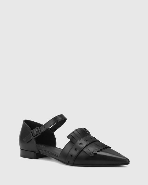 Marshall Black Leather Pointed Toe Flat. & Wittner & Wittner Shoes