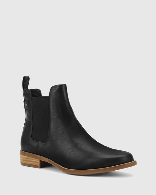 Cezar Black Leather Round Toe Gusset Ankle Boot.