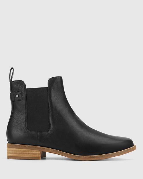 Cezar Black Leather Round Toe Gusset Ankle Boot. & Wittner & Wittner Shoes