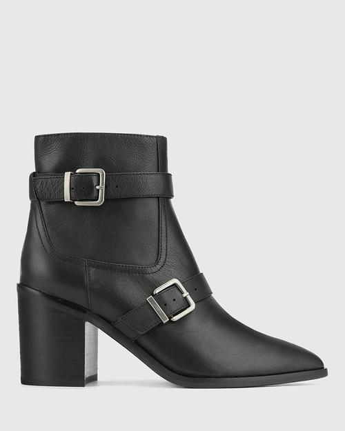 Pecola Black Leather Block Heel Ankle Boot. & Wittner & Wittner Shoes