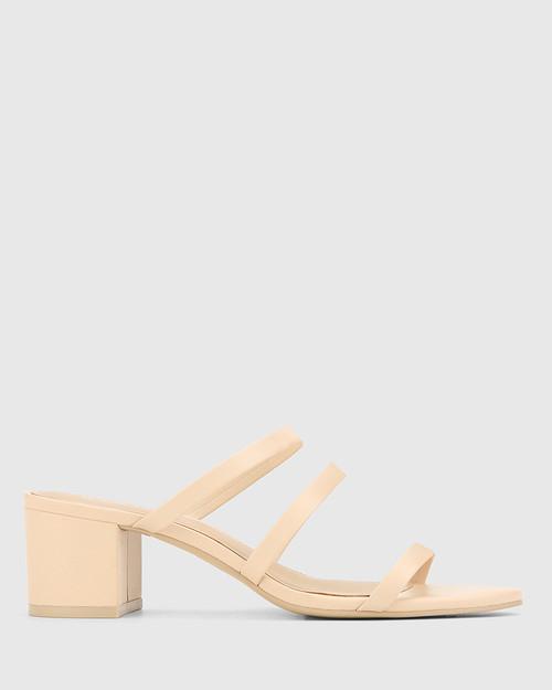 Ilana Pearl Leather Block Heel Sandal. & Wittner & Wittner Shoes