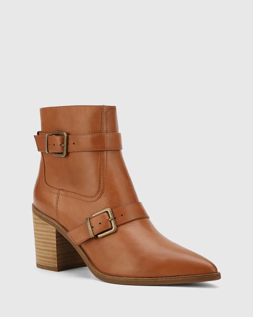 Pecola Dark Cognac Leather Block Heel Ankle Boot.